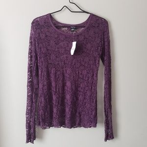 NWT Purple Lace Long Sleeved Shirt